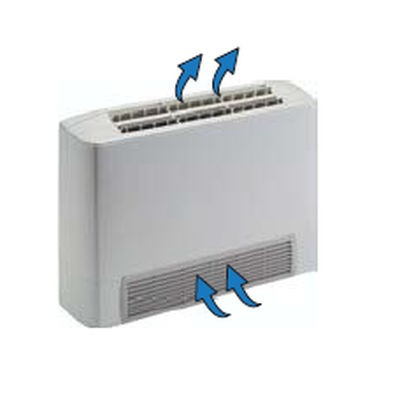 Ventiloconvector carcasat vertical cu picioare, o baterie si priza aspiratie frontala - 1,50 kW