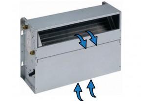 Ventiloconvector necarcasat vertical cu doua baterii si priza de aspiratie inferioara - 3,65 kW cu motor EC inverter