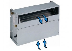 Ventiloconvector necarcasat vertical cu doua baterii si priza de aspiratie inferioara - 4,11 kW cu motor EC inverter