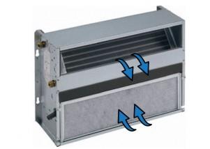 Ventiloconvector necarcasat vertical cu o baterie si priza de aspiratie frontala - 3,02 kW cu motor EC inverter