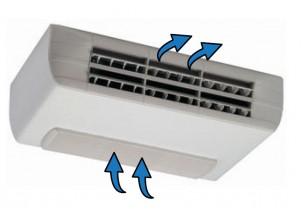 Ventiloconvector carcasat orizontal cu doua baterii si priza de aspiratie inferioara - 2,92 kW cu motor EC inverter