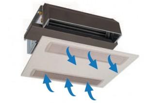 Ventiloconvector incastrat in plafon, cu prelungire de 100 mm, 1,50 kW