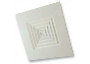 Anemostat pe 4 directii pentru plafon casetat 595x300 mm, alb